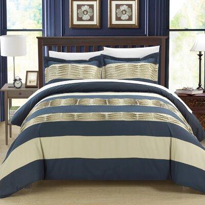 Pleated applique Park Lane 3 Piece Duvet Set Size: King, Color: Navy