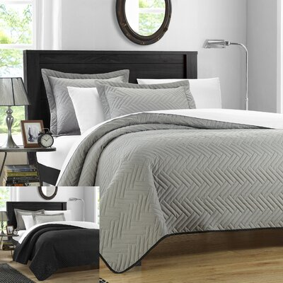 Palermo 7 Piece Reversible Quilt Set Color: Silver, Size: Queen