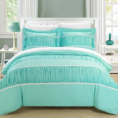 Betsy 7 Piece Duvet Cover Set Size: Queen, Color: Aqua