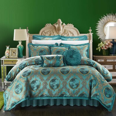 Romeo and Juliet 13 Piece Comforter Set Color: Teal, Size: King