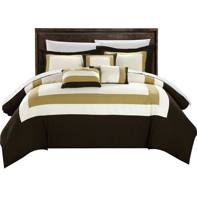 Lowell 10 Piece Comforter Set Size: Queen, Color: Brown / Gold