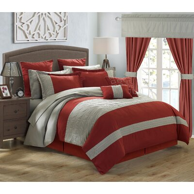 Lorde 25 Piece Comforter Set Color: Grey, Size: King