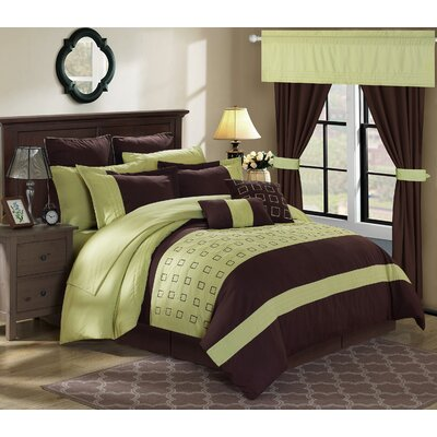 Lorde 25 Piece Comforter Set Color: Green, Size: Queen