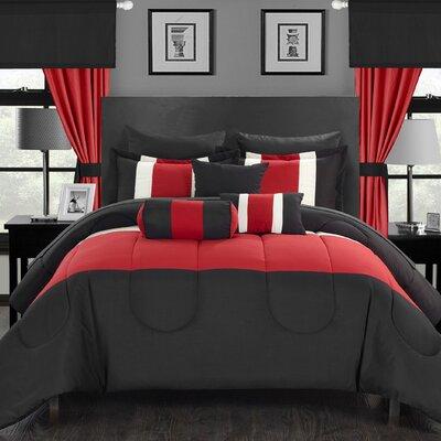 Mackenzie 20 Piece King Comforter Set Color: Red, Size: Queen