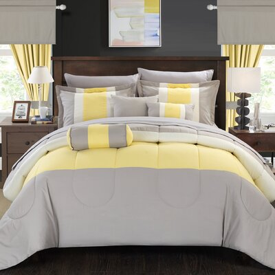 Mackenzie 20 Piece King Comforter Set Color: Yellow, Size: King