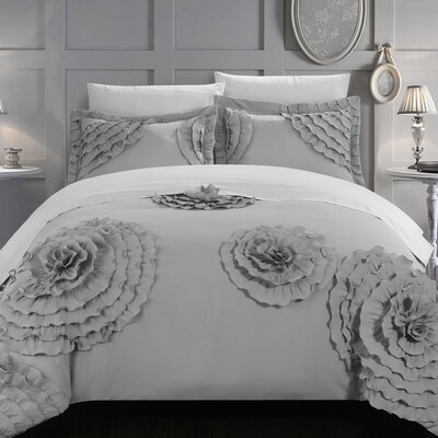 Birdy Duvet Cover Set Size: King, Color: Silver
