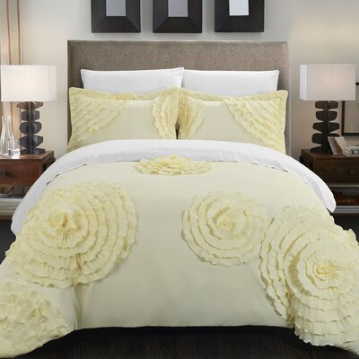 Birdy Duvet Cover Set Size: King, Color: Beige