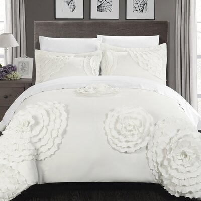 Birdy Duvet Cover Set Size: King, Color: White
