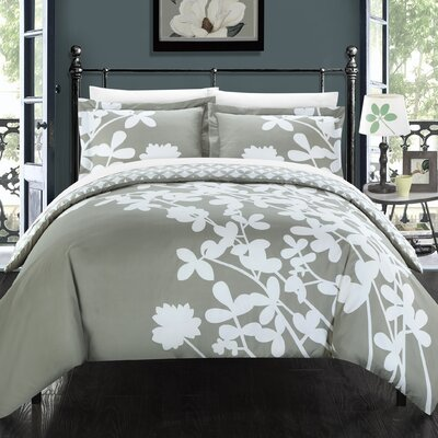Calla Lily Reversible Duvet Cover Set Size: Queen, Color: Grey