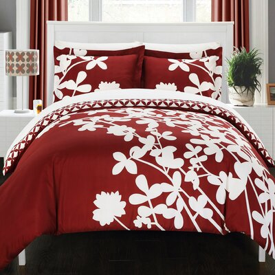 Calla Lily Reversible Duvet Cover Set Size: Queen, Color: Red