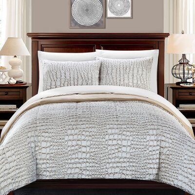 Alligator 7 Piece Queen Comforter Set Color: Beige