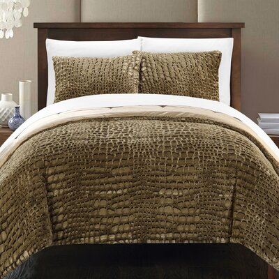 Alligator 7 Piece Queen Comforter Set Color: Gold