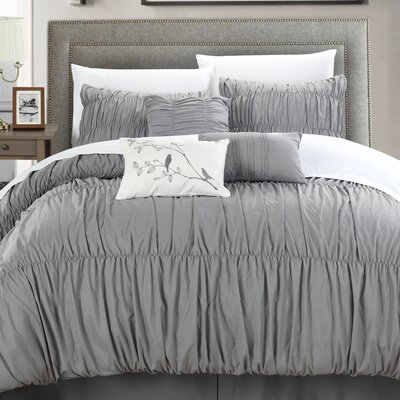 Francesca 7 Piece Comforter Set Size: King, Color: Silver