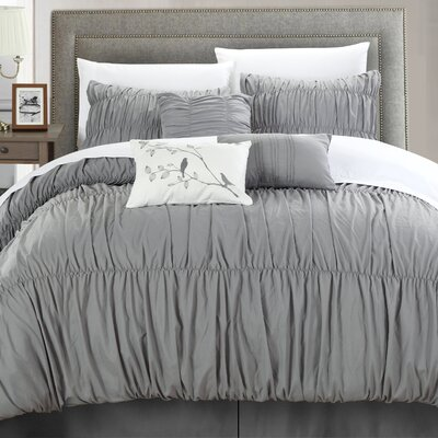 Francesca 11 Piece Comforter Set Size: King, Color: Silver