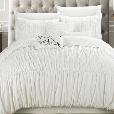 Francesca 11 Piece Comforter Set Size: King, Color: White
