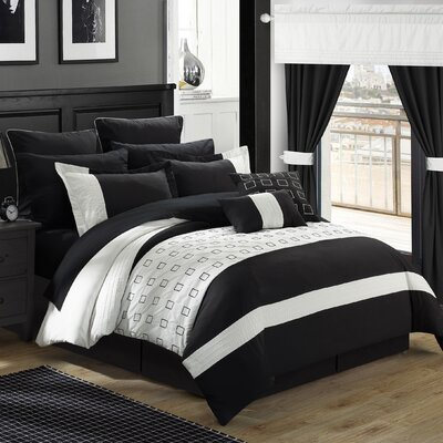 Lorde 25 Piece Comforter Set Color: Black, Size: King