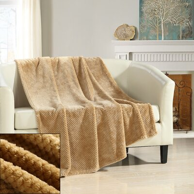 Dijon Ultra Plush Micro Mink Waffle Textured Decorative Throw Blanket Color: Camel