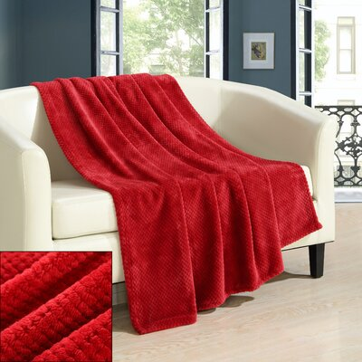 Dijon Ultra Plush Micro Mink Waffle Textured Decorative Throw Blanket Color: Red