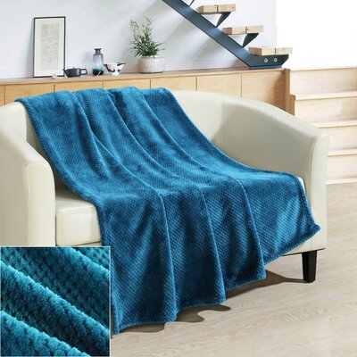 Dijon Ultra Plush Micro Mink Waffle Textured Decorative Throw Blanket Color: Teal