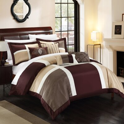 Alleta 7 Piece Comforter Set Size: Queen, Color: Brown