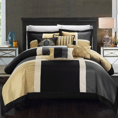 Alleta 7 Piece Comforter Set Size: King, Color: Black