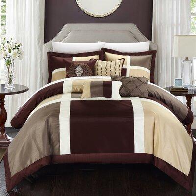 Alleta 11 Piece Comforter Set Size: Queen, Color: Brown