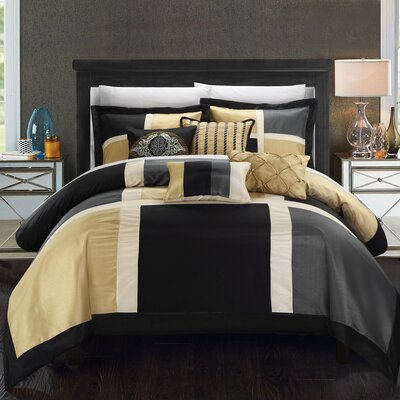 Alleta 11 Piece Comforter Set Size: King, Color: Grey