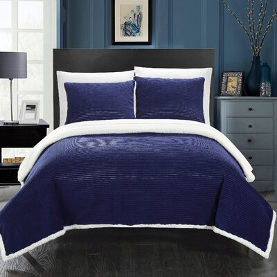 Lancy Comforter Set Size: King, Color: Navy