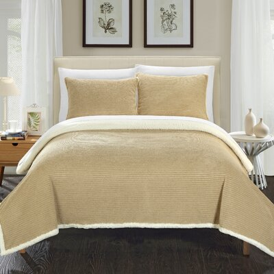 Lancy Comforter Set Size: Twin, Color: Taupe