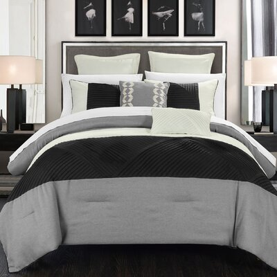 Marbella 7 Piece Comforter Set Size: King, Color: Silver