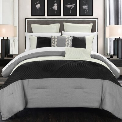 Marbella 11 Piece Comforter Set Size: King, Color: Silver
