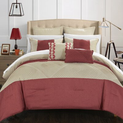 Marbella 11 Piece Comforter Set Size: King, Color: Taupe