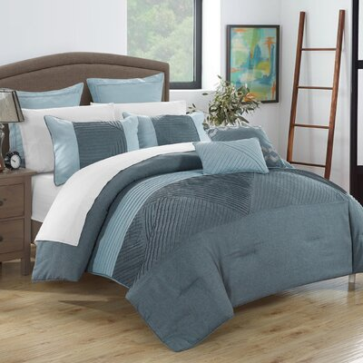 Marbella 11 Piece Comforter Set Size: Queen, Color: Blue