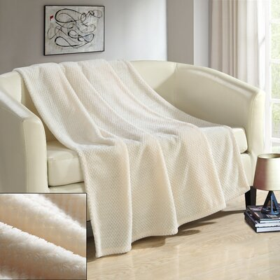 Dijon Ultra Plush Micro Mink Waffle Textured Decorative Throw Blanket Color: Beige