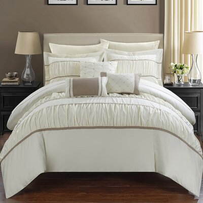 Cheryl Pleated and Ruffled 10 Piece Duvet Set Size: Queen, Color: Beige