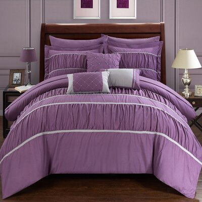 Cheryl Pleated and Ruffled 10 Piece Duvet Set Size: Queen, Color: Plum