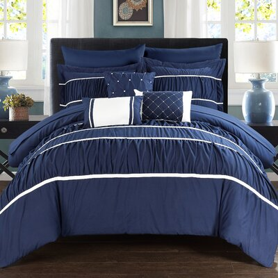 Cheryl Pleated and Ruffled 10 Piece Duvet Set Size: King, Color: Navy