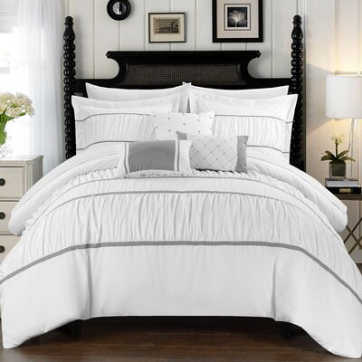 Cheryl Pleated and Ruffled 10 Piece Duvet Set Size: King, Color: White