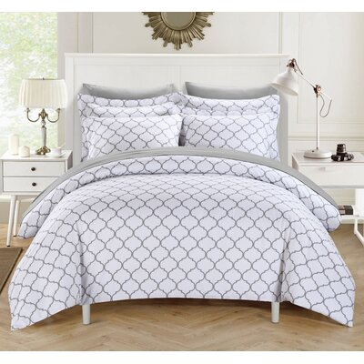 Brooklyn Duvet Cover Set Size: King, Color: Gray