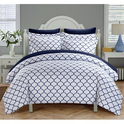 Brooklyn Duvet Cover Set Size: Queen, Color: Navy