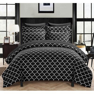 Brooklyn Duvet Cover Set Size: King, Color: Black