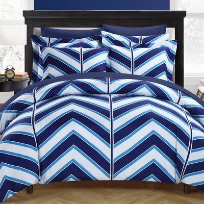 Piper Reversible Duvet Cover Set Size: King, Color: Navy