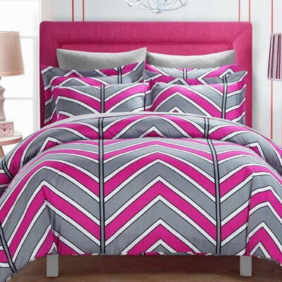 Piper Reversible Duvet Cover Set Size: King, Color: Fuschia