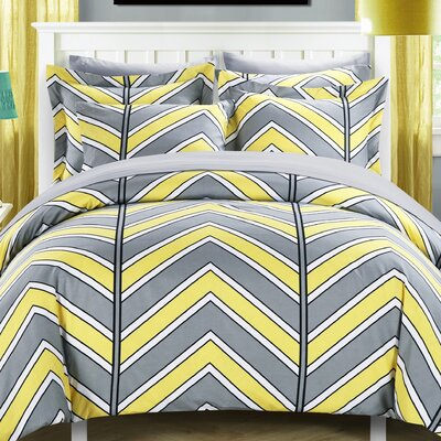 Piper Reversible Duvet Cover Set Size: King, Color: Yellow