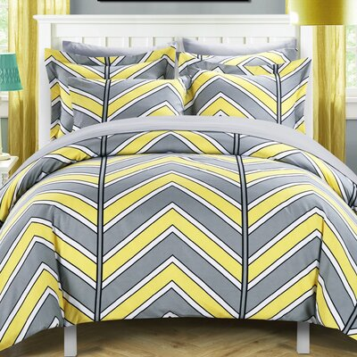 Piper Reversible Duvet Cover Set Size: Twin, Color: Yellow