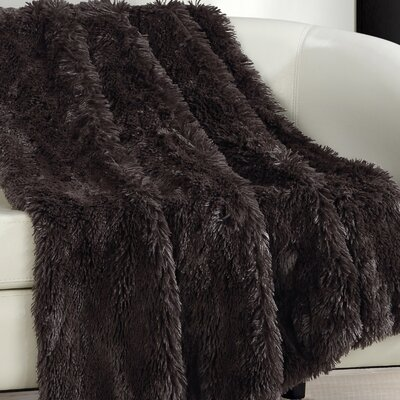 Elana Shaggy Faux Fur Supersoft Ultra Plush Decorative Throw Blanket Color: Brown