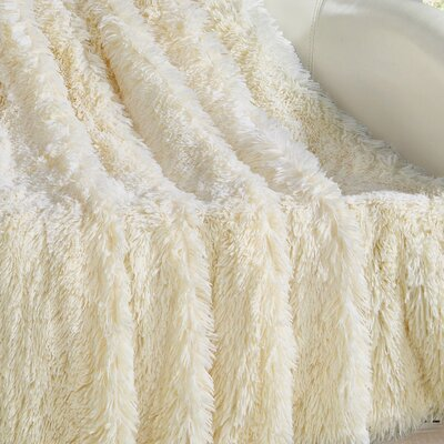 Elana Shaggy Faux Fur Supersoft Ultra Plush Decorative Throw Blanket Color: Beige
