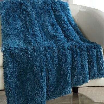 Elana Shaggy Faux Fur Supersoft Ultra Plush Decorative Throw Blanket Color: Teal