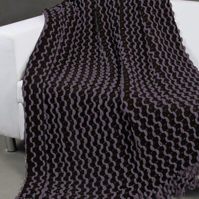 Malsie Two Tone Chenille Throw Blanket Color: Purple