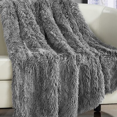 Elana Shaggy Faux Fur Supersoft Ultra Plush Decorative Throw Blanket Color: Silver